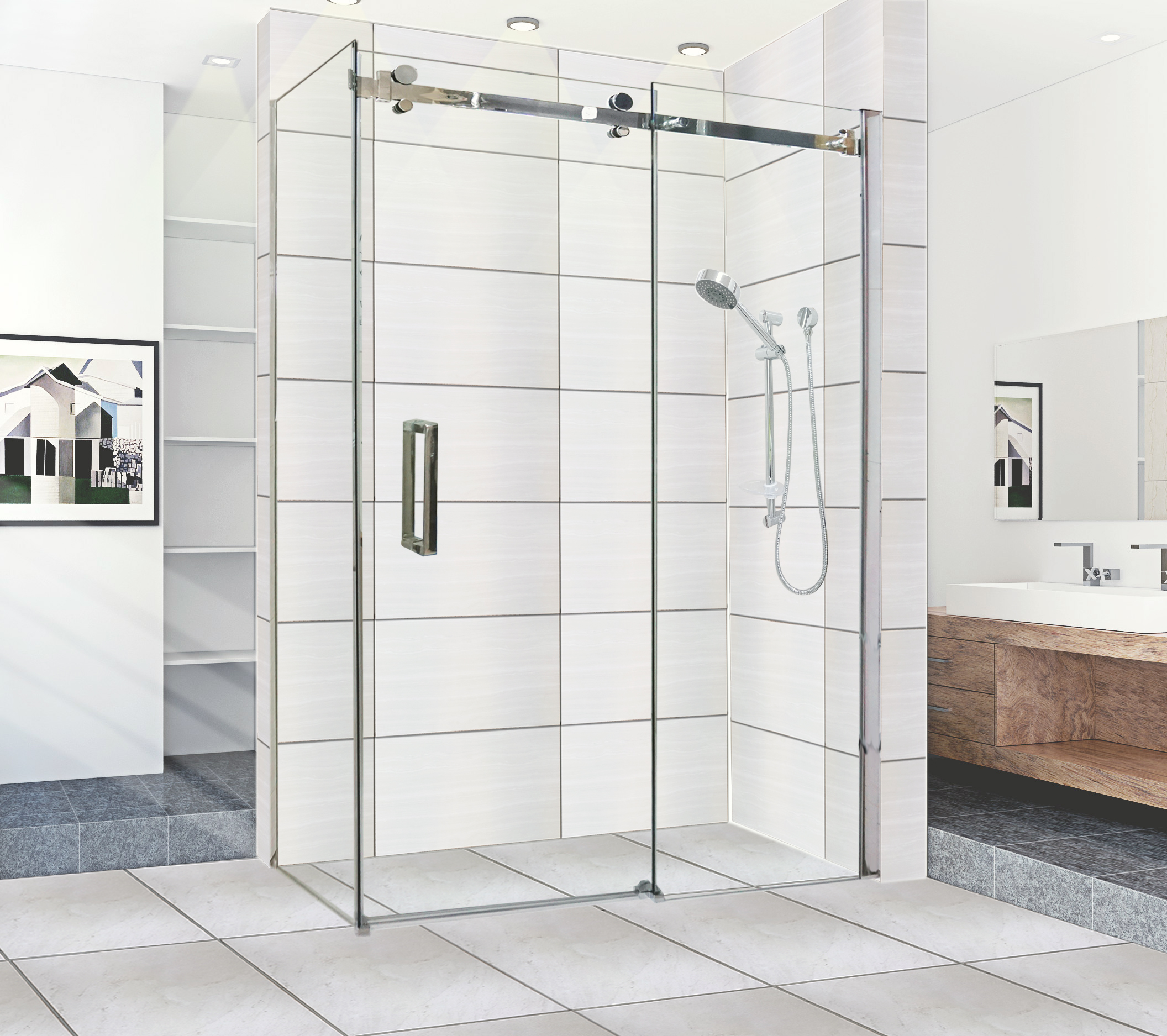 Sliding shower screen -  Clearance 1200x900x10mm Sliding Door Shower Screen Sale