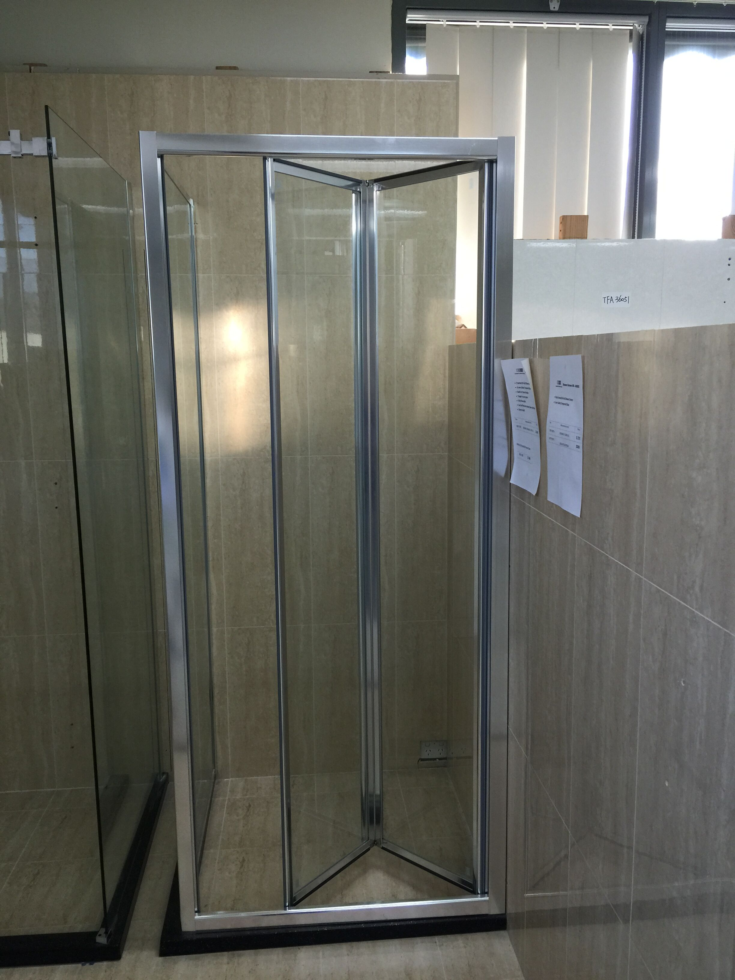 900mm Full Frame Bi Fold Shower Screen Front Door Only