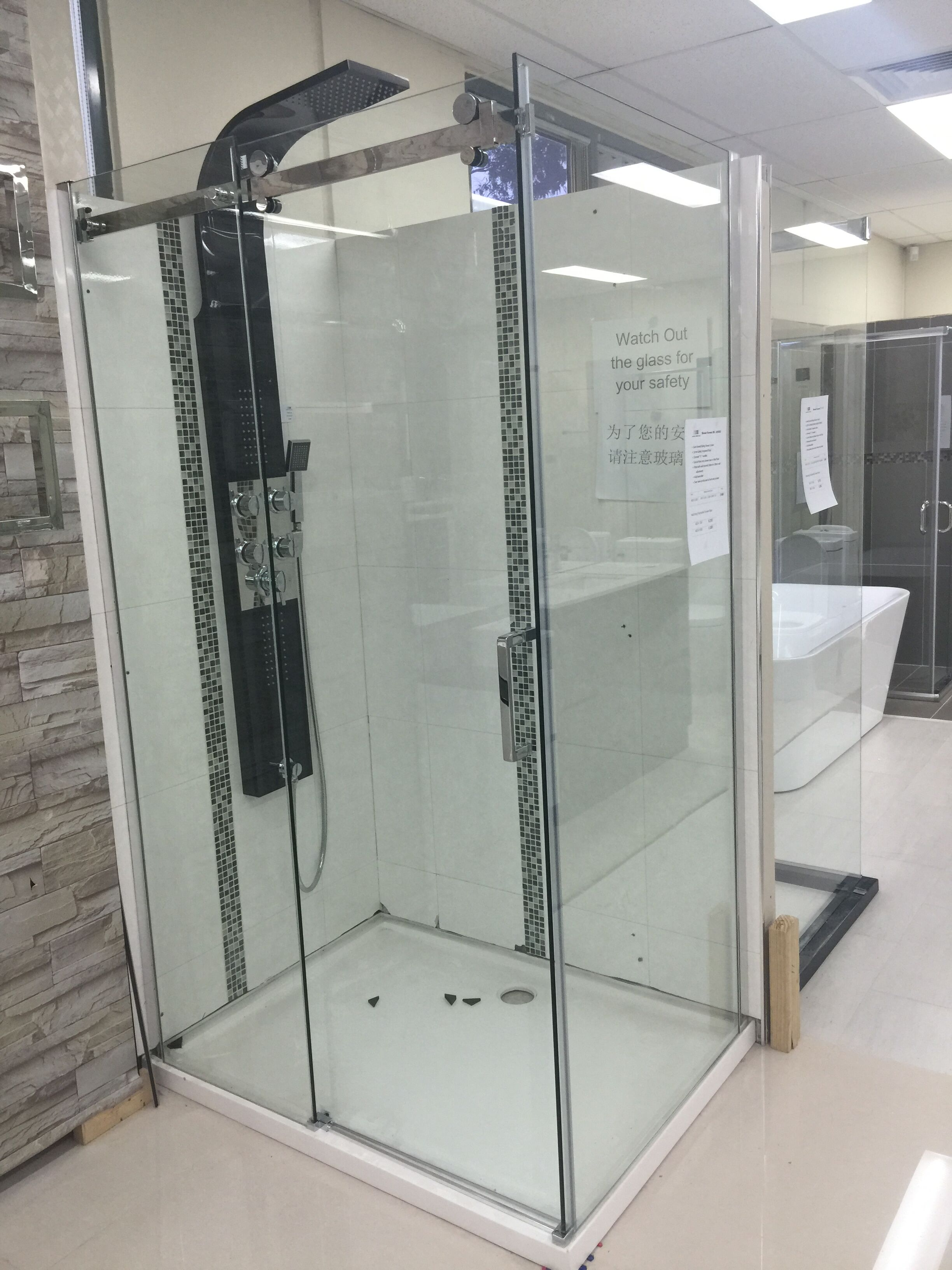 Sliding shower screen - Bayswater Bathroom Direct Melbourne Bathroom Toilet Vanity Shower Basin Sink Laundry Clearance 1200x900x10mm Sliding Door Wall To Wall Shower Screen
